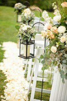 ceremony aisle decor: lanterns and eucalyptus Wedding Aisles, Wedding Week, Wedding Lanterns, Lanterns Decor, Wedding Centerpieces, Wedding Venues, Wedding Ideas, Garden Wedding, Ikea Lanterns