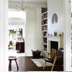 dark floors in the living room & white walls My Living Room, Home And Living, Living Spaces, Living Area, Terraced House, Victorian Terrace Interior, Sala Vintage, Alcove Shelving, Wood Bookshelves