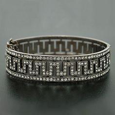 A Brandt And Son Art Deco Sterling French Paste Bangle Bracelet