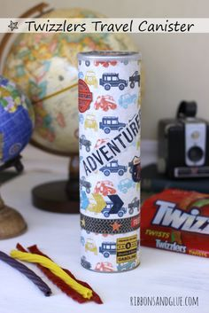 DIY Twizzlers Travel Canister made from an up-cycled chip canister.  #ad #TwizzlersSummer