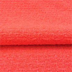 Virgin wool Italian tweed in fluo melon.