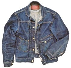 Started raw, worn for about one year, several cold washes. Do the environment a favor, don't buy pre-distressed garments. Chemises Western, Style Brut, Denim Jacket Men, Denim Jackets, Men's Jacket, Casual Jackets, Edwin Jeans, Mode Jeans, Denim Ideas