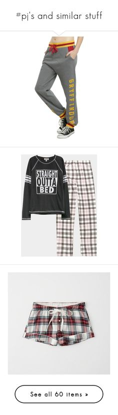 """""""#pj's and similar stuff"""" by ronnie-555 on Polyvore featuring pants, harry potter, bottoms, gryffindor, pajamas, warner bros., jogger pants, jogging trousers, side pocket pants and boyfriend pants"""