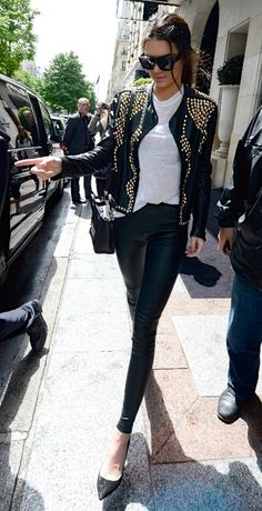 Leather studded jacket - street style