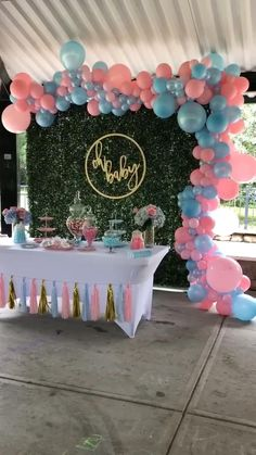 Gender Reveal Party Games, Gender Reveal Themes, Gender Reveal Party Decorations, Birthday Balloon Decorations, Baby Shower Gender Reveal, Diy Party Decorations, Gender Party Ideas, Baby Reveal Party Ideas, Gender Reveal Ballons