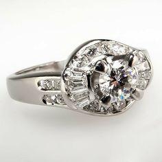 Diamond Cluster Engagement Ring in Platinum