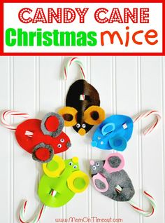 Candy Cane Mice Christmas Craft | MomOnTimeout.com #Christmas #craft #kids