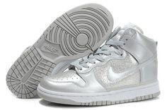 Cheap Stylish Nike Dunk SB High Top Sneakers For Women Metallic Silver White