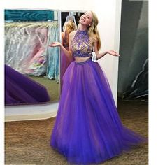 2 Piece Prom Gown,Two Piece Prom Dresses,Grape Evening Gowns,2 Pieces Party Dresses,Evening Gowns,Formal Dress,Sparkly Evening Gowns,Floor Length Prom Gown