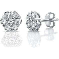 Diamond Blossom 1 CT. T.W. Round White Diamond 10K Gold Stud Earrings... ($375) ❤ liked on Polyvore featuring jewelry, earrings, gold round earrings, flower earrings, stud earrings, diamond earrings and gold earrings