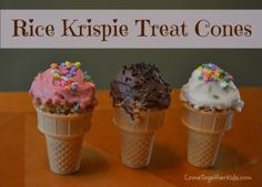 Chocolate-Covered Rice Krispie Treat Cones ~ cute idea for parties, treats or bake sales!