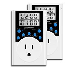 2 Pack Timer Outlet Nearpow Multifunctional Infinite Cycle Programmable Plugin Digital Timer Switch With 3prong Outlet for Appliances Energysaving Timer 15A1800W -- You can find out more details at the link of the image.