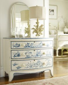 Topsail Medium Decorated Bowfront Chest.  Gorgeous - the like the coral lamp too