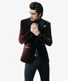Velvet Dinner Jacket With a Roll Neck Urban Fashion Trends e2bf2a74244