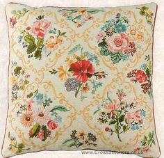 Victorian Flower Cushion Embroidery Kit from Design Perfection