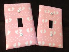 Set of two  PINK BABY GIRL Feet & Polka Dots by ExpressionsofFaith, $7.99