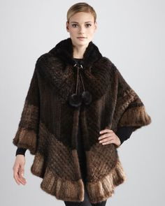 Chevron Knitted Mink Fur Cape by La Fiorentina at Neiman Marcus.