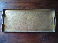 Vintage Embossed Floral Leaves Footed Brass Tray England