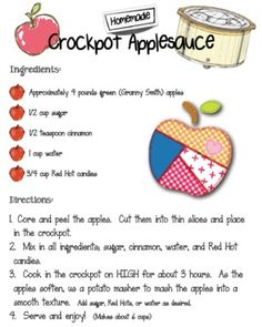 Crockpot Applesauce Recipe for our Pre-K Complete Preschool Curriculum Apple theme! Repinned by Pre-K Complete - follow us on our blog, FB, Twitter, and Google Plus!