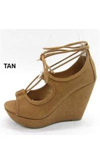 @knittedbelle #knittedbelle Scoop Out Wedge Sandal - Tan