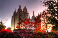 Salt Lake City UT. temple with amazing colors and sunset.