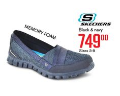 Sketchers - Built with memory foam for extra comfort! Sketchers Shoes, Black And Navy, Shoe Shop, Shoe Brands, Skechers, Comfortable Shoes, Memory Foam, Fashion Shoes, Footwear