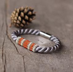 Gray orange rope bracelet magnetic closure by Naryajewelry