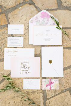 Blush and gold wedding invitation paper suite: http://www.stylemepretty.com/california-weddings/san-martin-california/2016/09/15/blush-gold-winery-wedding/ Photography: Vero Suh - http://verosuh.com/