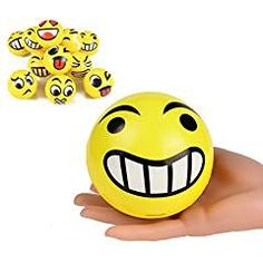 Set of 12 JUMBO Emoji Face Yellow Foam Soft Stress Novelty Big Toy Balls Dozen) Jumbo Yellow Emoji Soft Balls. Size: Each Ball Measures 4 inches in diameter. Set of 12 in a Display Box. Emoji Faces, Display Boxes, Early Learning, Toddler Toys, Balls, Stress, Yellow, Big, Image Link