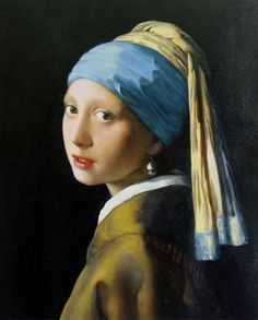 The Girl with the Pearl Earring by: Vermeer. Going to see this in person next month! Her beauty and innocence are natural and perfectly portrayed. The contrast between the background and the figure enhances the effect.