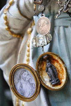 Items similar to Holy Shrine Necklace--Vintage Assemblage Rhinestone Aquamarine French Mary Shrine Watch Chain NECKLACE on Etsy Religious Icons, Religious Jewelry, Religious Art, Jewelry Art, Vintage Jewelry, Holy Rosary, Catholic Art, Rosary Catholic, Blessed Virgin Mary