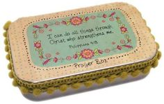"""Philippians 4:13; Includes Tin box, flower motif paper and pen Inspirational message inside: """"When your head starts to worry, and your mind just can't get rest,"""