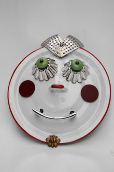 Dolly   A Pan Lid Wall Hanging by BillsRetroRobots on Etsy, $34.00