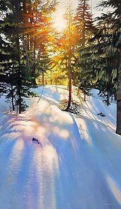 Anwar Nada Art *L'art aide à vivre*: Richard Mravik Watercolor Landscape, Landscape Art, Landscape Paintings, Winter Photography, Landscape Photography, Nature Photography, Painting Snow, Winter Painting, Winter Sunset