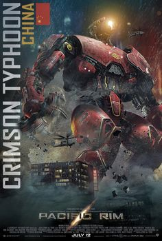 Hit the jump to check out the latest poster for Guillermo del Toro's Pacific Rim. This one features the Chinese Jaeger, 'Crimson Typhoon,' which is equipped with three arms and requires three pilots to control it, instead of the customary two pilots. Pacific Rim Movie, Pacific Rim Jaeger, Gipsy Danger, Arte Robot, Science Fiction, New Poster, Godzilla, Les Oeuvres, Cyberpunk