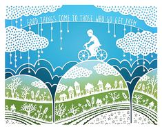 5x7 Print - Good Things - Original Papercut Illustration - Bicycle - Inspirational Quote, by SaraTrumbauer