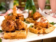 Fried Chicken and Wild Rice Waffles with Pink Peppercorn Sauce from CookingChannelTV.com-Brunch @ Bobby's