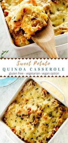 Potato Quinoa Casserole This Sweet Potato Quinoa Casserole is perfect for busy weeknights! via Sweet Potato Quinoa Casserole is perfect for busy weeknights! Clean Eating Vegetarian, Clean Eating Snacks, Healthy Eating, Eating Habits, Healthy Food, Vegetarian Lifestyle, Vegetarian Lunch, Vegetarian Dinners, Healthy Cooking