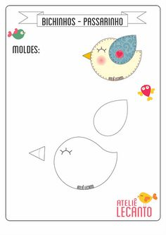 New sewing projects felt quiet books ideas Felt Templates, Applique Templates, Applique Patterns, Sewing Patterns, Bird Template, Bird Applique, Felt Crafts Patterns, Felt Quiet Books, Felt Birds