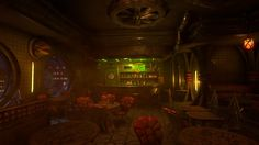 Titan's Pit (Space guinguette), Benjamin Chavigner on ArtStation at https://www.artstation.com/artwork/96VLo