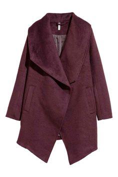 Пальто из шерстяного букле - Бордовый - Женщины | H&M RU