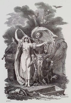 E.-H. Langlois. Essai Historique, Philosophique et Pittoresque sur les Danses des Morts. n.c. : n.p., 1852, Plate Frontispiece. E.H.L.. The frontispiece of this pioneering study of the danse macabre theme shows death attended by demons, leading a placid woman into grave. The pose of both reminds one in fact of the chevalier at the ball, with his waltzing partner