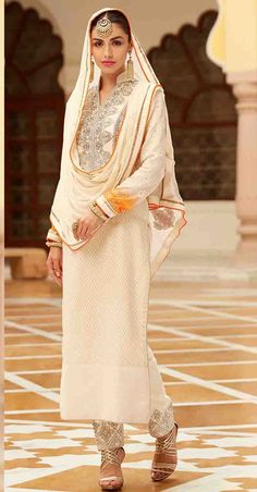 USD 85.83 Cream Banarasi Jacquard Pakistani Style Suit 48068