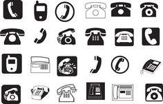 telephone pictogram | ... Pictogram, Retro, set, Silhouette, SMS, speak, support, Symbol