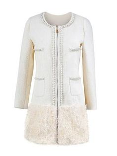 Pearl Decorative Plush Hem Woolen Coat