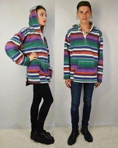 90s Flannel Shirt Hood Men Large Grunge Hippie Rasta Stripe Oversize Hoodie Mens Vintage Clothing Womens Unisex Horizontal Stripes