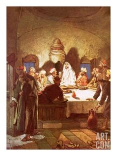 Jesus Breaking Bread and Giving His Disciples the Cup Giclee Print by William Brassey Hole at Art.com