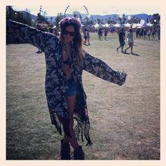 Coachella 2012 Kimono. flower crown.  Christine Luksis.