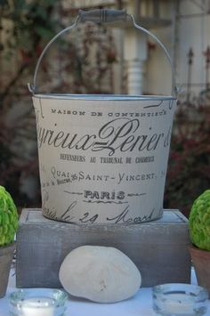 Chic Country French Galvanized Bucket for summer outdoor wedding OR home with antiqued brown wooden bail handle - possible candle holder look