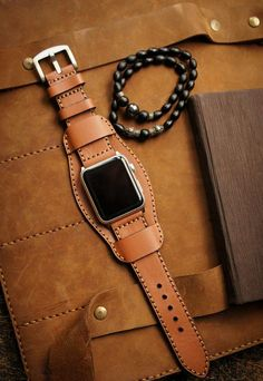 Vintage Genuine Leather iWatch Strap Replacement for Apple Watch Series 3 Series 2 Series 1 Sport and Edition, Brownish Black with Black Adapter